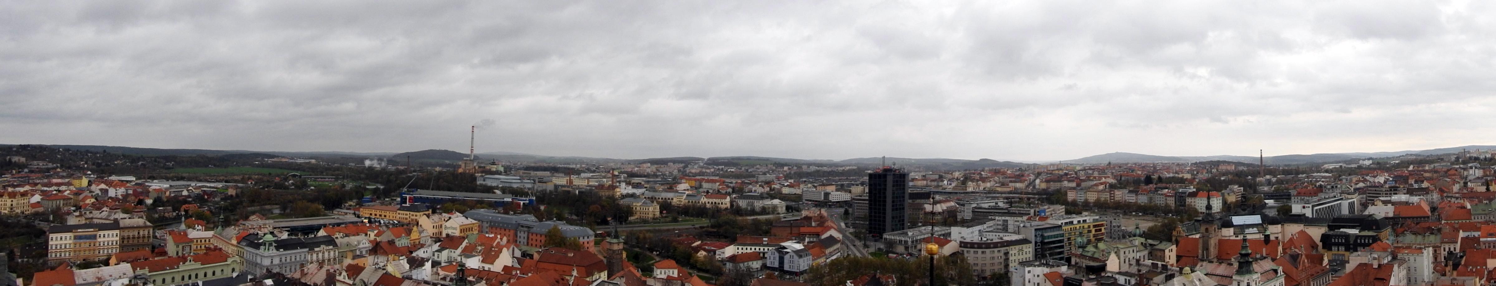 Plzeňské oslavy vzniku republiky – pohled z věže katedrály sv. Bartoloměje