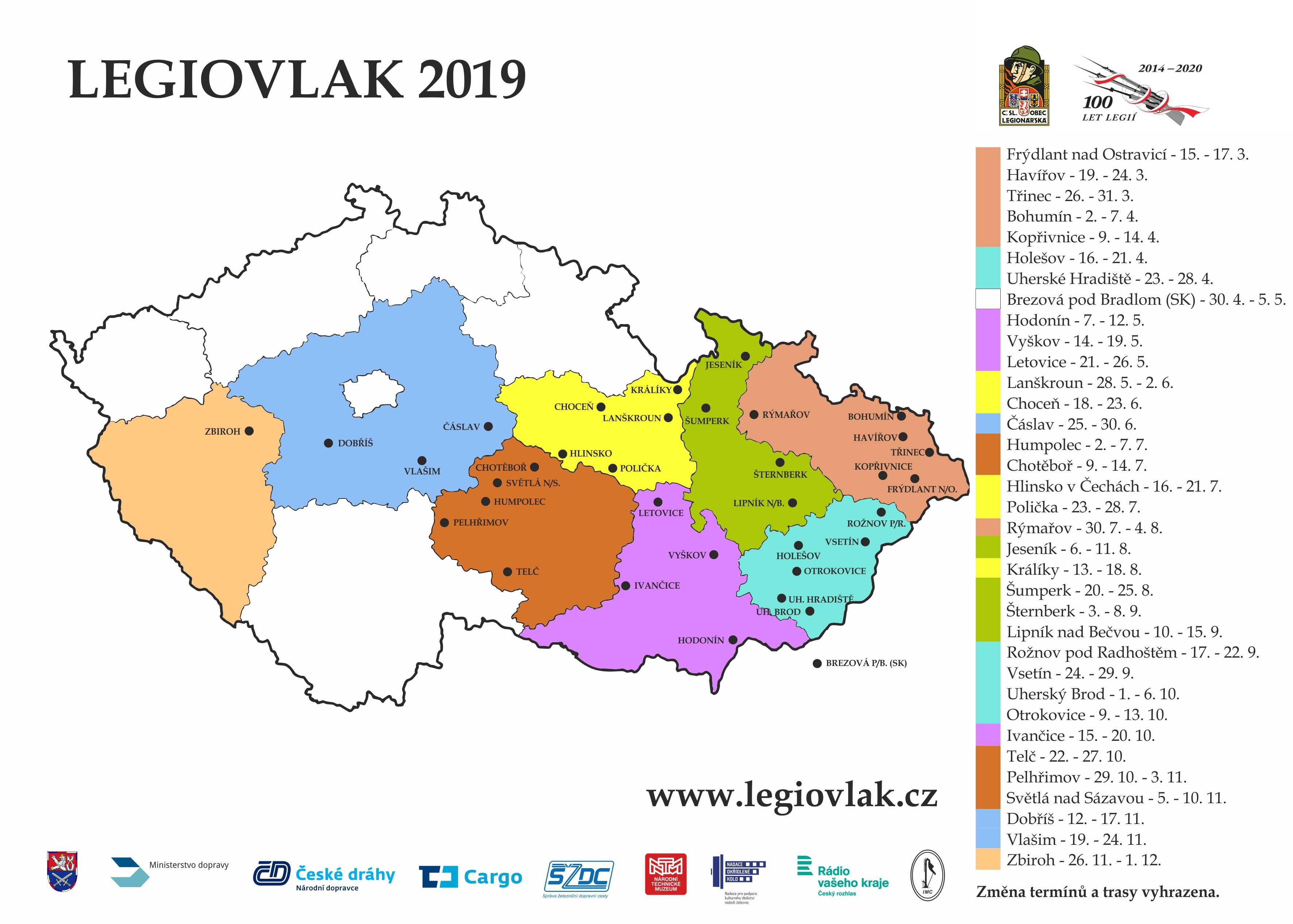 Legiovlak 2019 – mapa