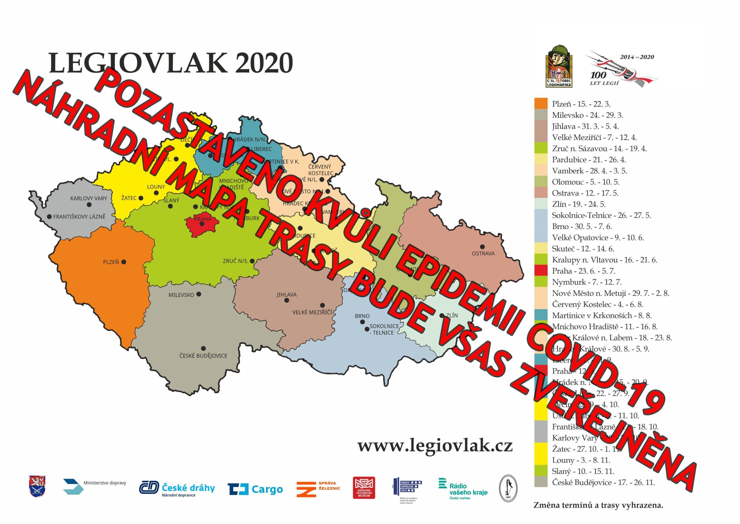 Legiovlak 2020 – mapa