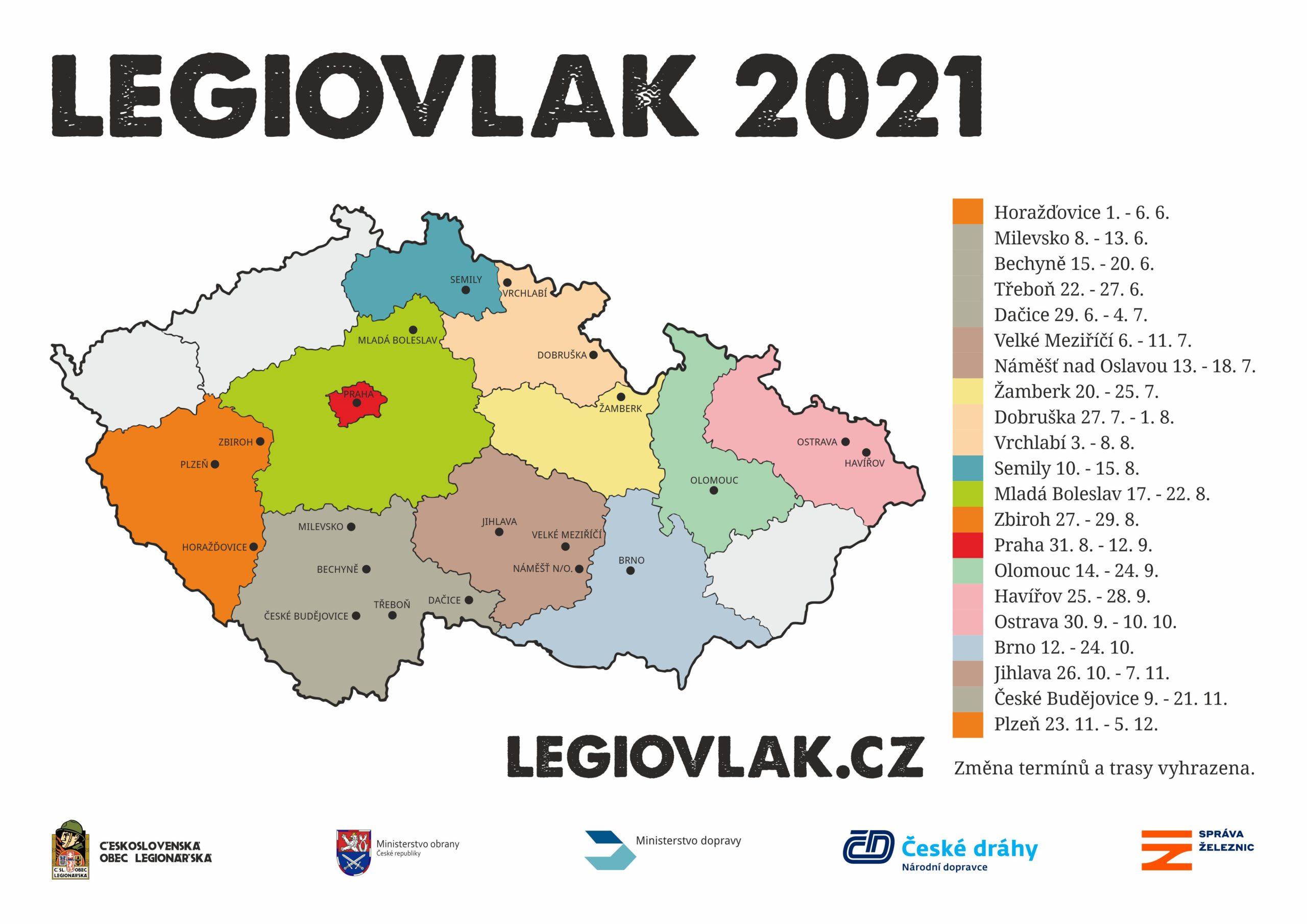 Legiovlak vyráží na cestu po republice i v roce 2021