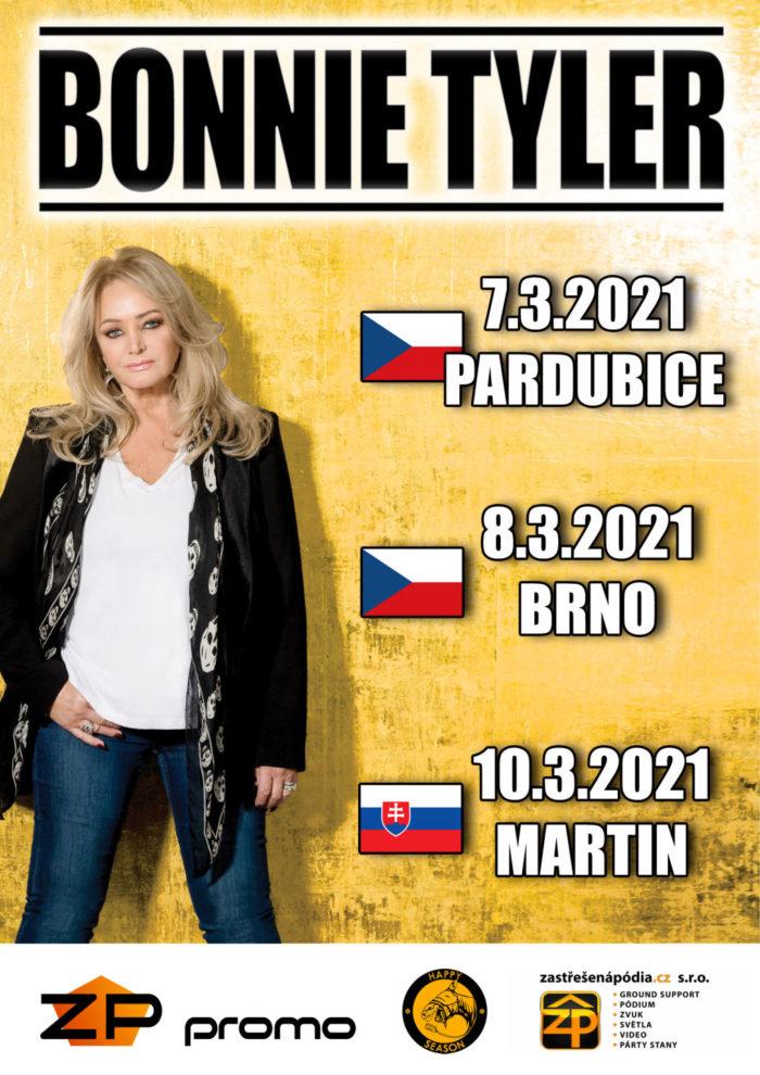 Bonnie Tyler vystoupí 7. března 2021 v Pardubicích a 8. března 2021 v Brně, 10. března 2021 pak ve slovenském městě Martin